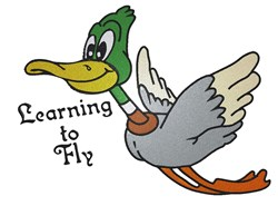 Learning To Fly Duck embroidery design