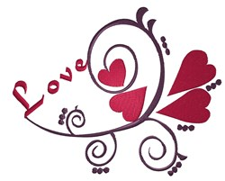 Heart Swirl Love embroidery design