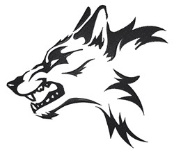 Tribal Wolf Head embroidery design