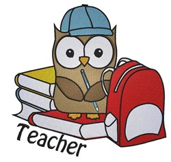 Cute School owl Teacher embroidery design