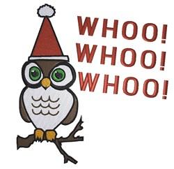 Santa owl Whoo  Whoo  Whoo embroidery design