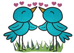 Cute Spring Bird couple in Love embroidery design
