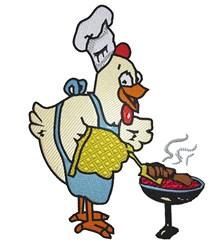 Chicken BBQ embroidery design