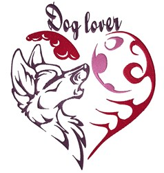 Tribal Dog Lover Heart embroidery design