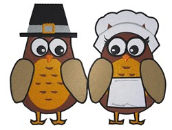Thanksgiving Owls embroidery design