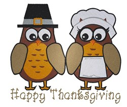 Happy Thanksgiving Owls embroidery design