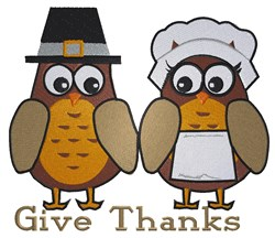 Give Thanks Owls embroidery design