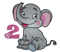 2nd Birthday Elephant embroidery design