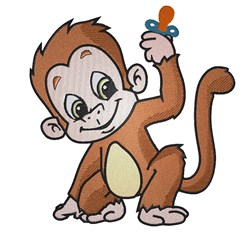 Monkey With Pacifier embroidery design