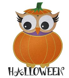 Halloween Owl In Pumpkin embroidery design