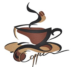 Coffee Cup Swirl embroidery design