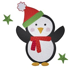 Cartoon Penguin Santa embroidery design
