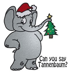 Cartoon Santa Elephant embroidery design