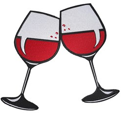 Two Wine Glasses embroidery design