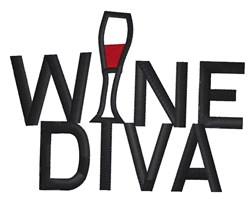 Wine Diva embroidery design