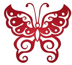 Red Butterfly Swirl embroidery design