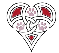 Twined Heart With Paws embroidery design