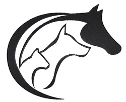 Horse Dog and Cat Logo embroidery design