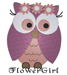 Flower Girl Owl embroidery design