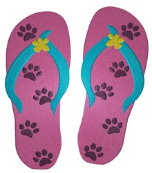 Flip Flops With Paws embroidery design