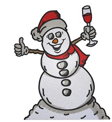 Snowman Drinking Wine embroidery design