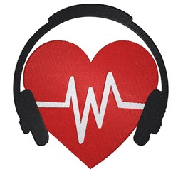 Heart With Headphones embroidery design