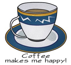 Coffee Makes Me Happy embroidery design
