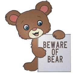 Beware Of Bear embroidery design