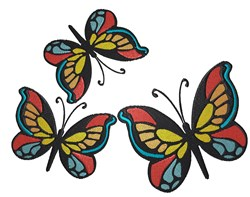 Butterfly Trio embroidery design
