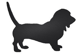 Basset Hound Silhouette embroidery design
