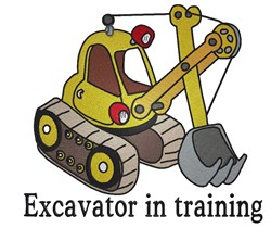 Excavator In Training embroidery design
