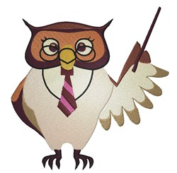Owl Teacher embroidery design