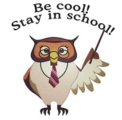 Stay In School Owl embroidery design