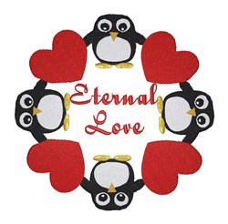 Eternal Love Penguins embroidery design