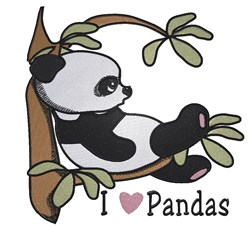 I Love Pandas embroidery design