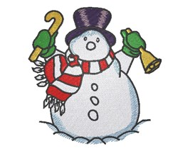 Snowman With Bell embroidery design