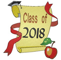 Class of 2018 Diploma embroidery design