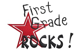 First Grade Rocks embroidery design