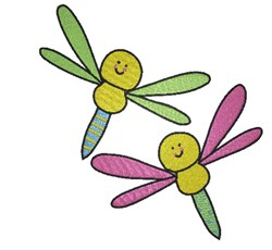 Cartoon Dragonflies embroidery design