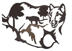 Mountain Lion Silhouette embroidery design