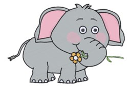 Elephant With Flower embroidery design
