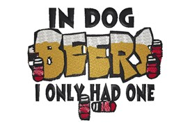 In Dog Beers embroidery design