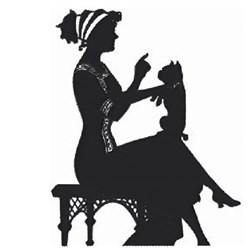 Lady & Dog Silhouette embroidery design