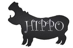 Hippo Silhouette embroidery design
