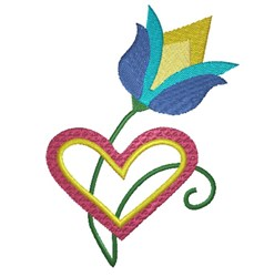 Heart and Tulip embroidery design