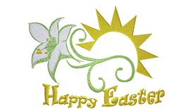Happy Easter Lily embroidery design