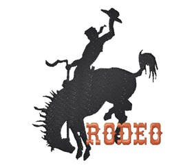 Cowboy on bucking horse silhouette Rodeo embroidery design