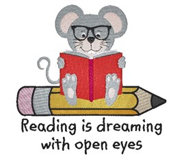 Reading Mouse embroidery design