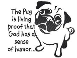 Humorous Pug Outline embroidery design