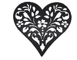 Fancy Floral Heart embroidery design